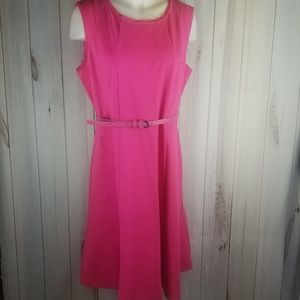 Talbots Belted Pink Fit and Flare Dress 14 Career